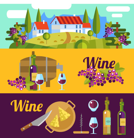 Banderas vino. Paisaje vector plana Toscana y los elementos de vino. Vectores