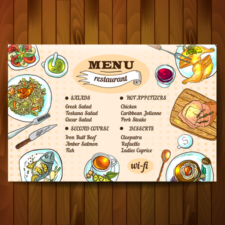 restaurant food: Beautiful hand drawn illustration restaurant food top view