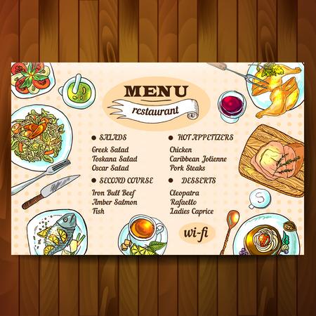 Ejemplo dibujado restaurante vista superior de alimentos Mano hermosa Vectores