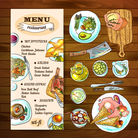 wine and food: Beautiful hand drawn illustration restaurant food top view