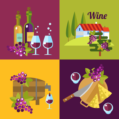 uncork: Vector wine icons. 4 illustrations about red and white wine.
