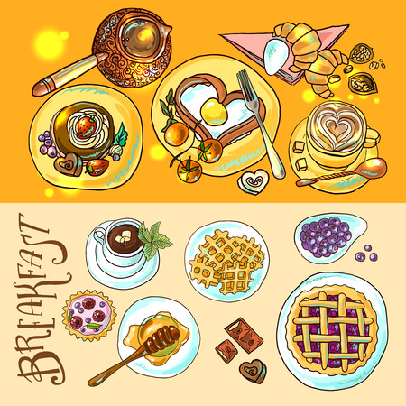 Sweets no the breakfast. Hand drawn illustration.