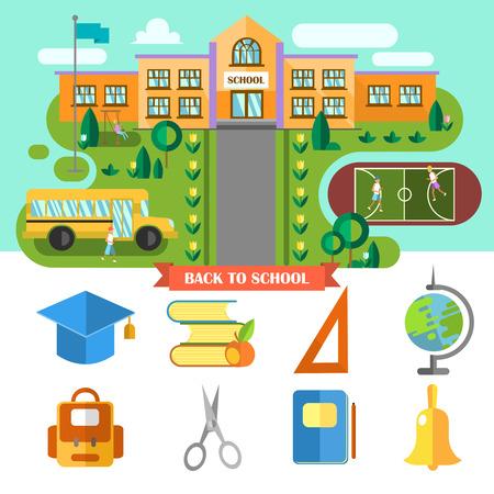ni�os con pancarta: Hermoso Fondo de paisaje escolar plana y conjunto de iconos de la escuela. Espalda Concepto de scool.