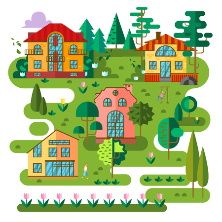 Vector flat village landscape. Beautiful little cottages and trees. Illustration