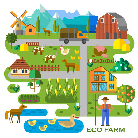 Beautiful farm scene. Abstract map of farm, with corn field, barn, truck, pond with ducks, cows, horses, pigs, and the farmer. Elements useful for agriculture infographic. Flat style.