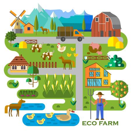 Mooie boerderij scene. Abstracte kaart van de boerderij, met een maïsveld, schuur, vrachtwagen, vijver met eenden, koeien, paarden, varkens, en de boer. Elementen nuttig voor de landbouw infographic. Vlakke stijl.