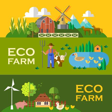 Beautifl  banners eco farm. Flat style.