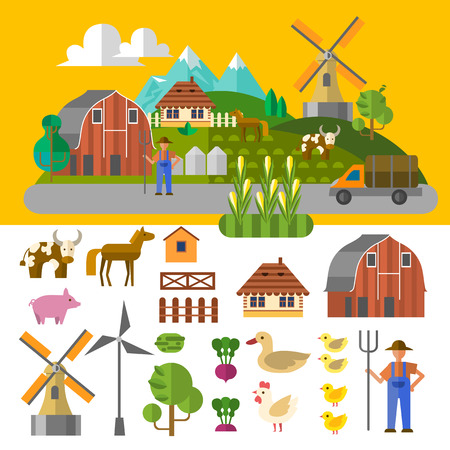 Beautiful farm scene.  Elements useful for agriculture infographic. Flat style.  Ilustração
