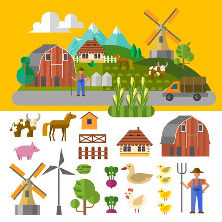 Prachtige boerderij scene. Elementen die bruikbaar zijn voor de landbouw infographic. Vlakke stijl. Stock Illustratie