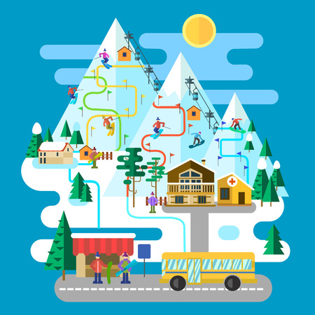mainstream: Vector winter landscape with resort. Flat style.