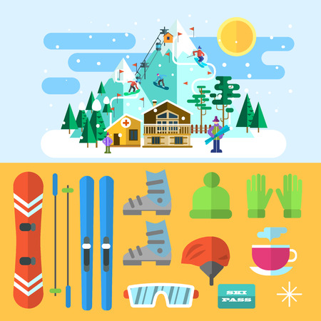Vector illustration ski resort. Landscape and icons.  Flat style.