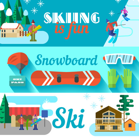 ski resort: Vector banners with ski resort. Flat style.