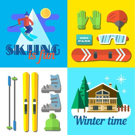 snow ski: Vector illustration skiing is fine. Flat style. Illustration