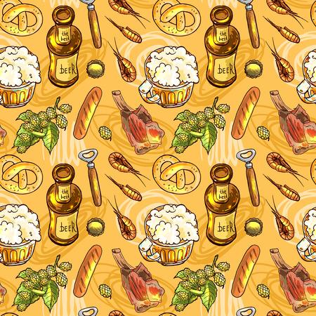 Hermosa mano elaborado cerveza patr�n transparente y bocadillos. La parte superior de Alimentos vista.