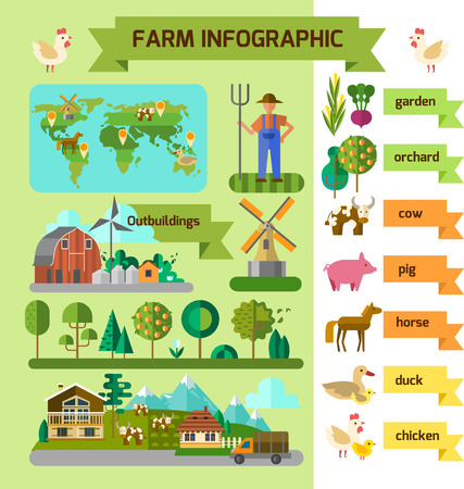 Infographic eco farm. Flat style. Vector file is EPS 10 免版税图像 - 44128429