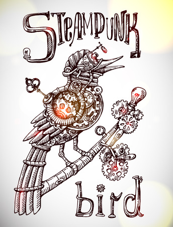 Beautiful hand drawn poster- mechanical bird. Steampunk style. Vettoriali