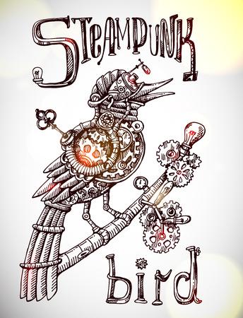 Beautiful hand drawn poster- mechanical bird. Steampunk style. Illustration
