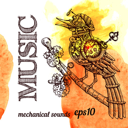 linework: Beautiful hand drawn poster- mechanical bird. Steampunk style. Illustration