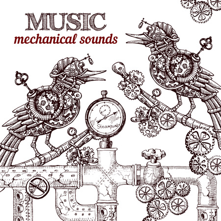 Beautiful hand drawn poster- mechanical bird. Steampunk style.  イラスト・ベクター素材