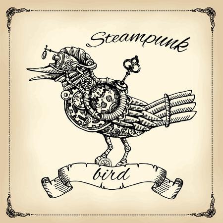 Beautiful hand drawn poster- mechanical bird. Steampunk style. Çizim
