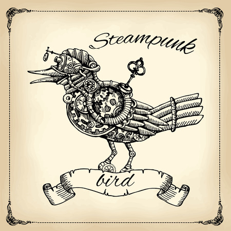 Beautiful hand drawn poster- mechanical bird. Steampunk style. 向量圖像