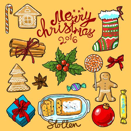 christmas food: Set of  food illustration christmas sweets top view