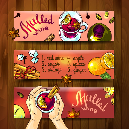 sweet food: banners mulled wine top view.
