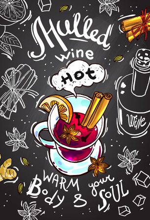 postcard mulled wine in the chalkboard background.