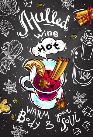 Postkarte Glühwein in der Tafel Hintergrund.