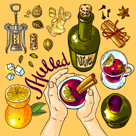 apple cinnamon: illustration mulled wine top view.