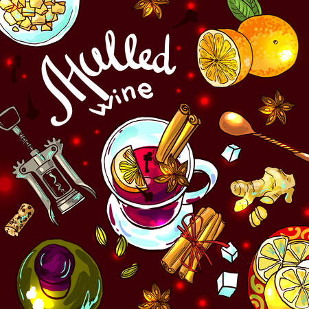 cosiness: illustration mulled wine top view.