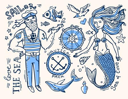 marinero: ilustración marinero y sirena. Doodle nativo. Vectores