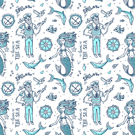 seamless pattern sailor and mermaid. Doodle native drawing.