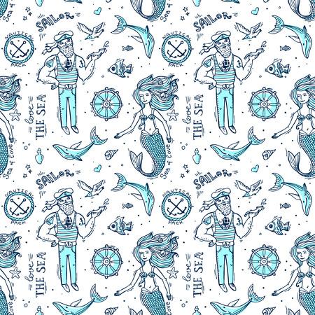 marinero: marinero patrón transparente y sirena. Doodle nativo. Vectores