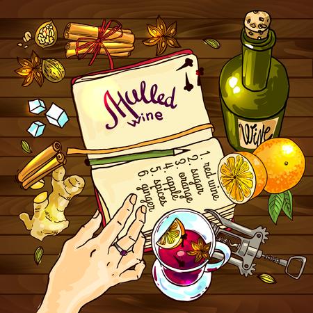 alimentos y bebidas: ilustración reflexionó receta.