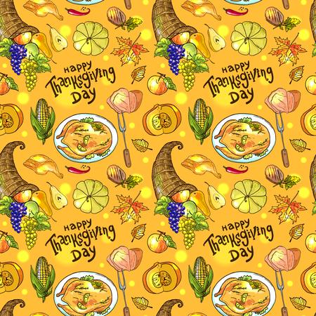 シームレス パターン感謝祭の食品  イラスト・ベクター素材