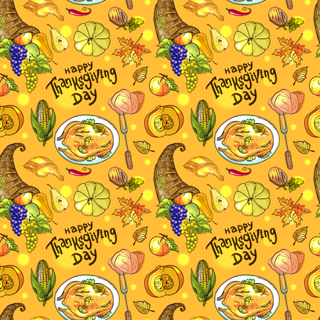 seamless pattern thanksgiving food