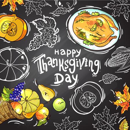 traditional background: illustration thanksgiving food Illustration