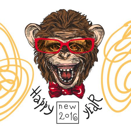 Hand drawn sketch portrait of monkey symbol of New Year 2016