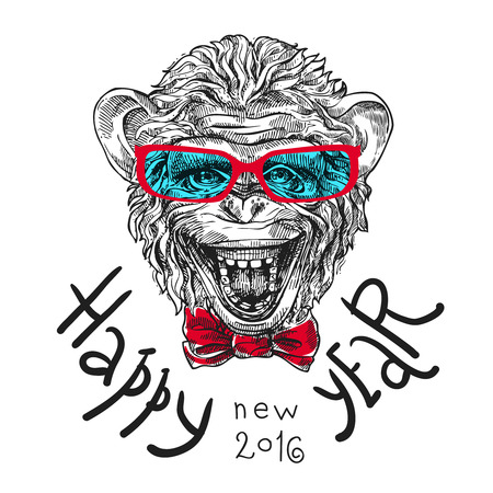 Hand drawn sketch portrait of monkey symbol of New Year 2016