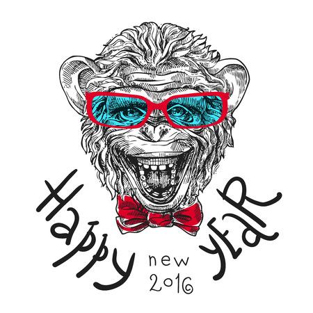 Hand getrokken schets portret van aap symbool van het nieuwe jaar 2016 Stock Illustratie