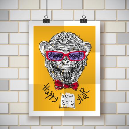severe: Hand drawn sketch portrait of monkey symbol of New Year 2016