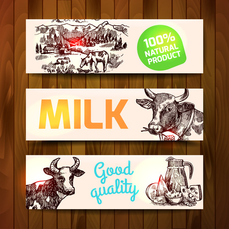 twarożek: Beautiful hand drawn sketch banners milk product for your design