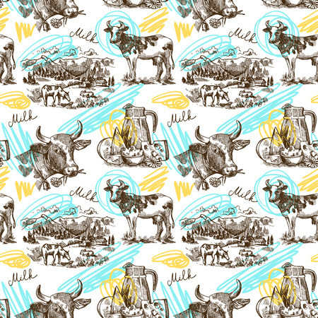 milker: Beautiful hand drawn sketch seamless pattern milk product for your design