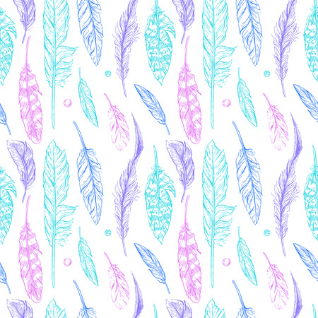 Beautiful hand drawn sketch seampless pattern feather for your design Vectores