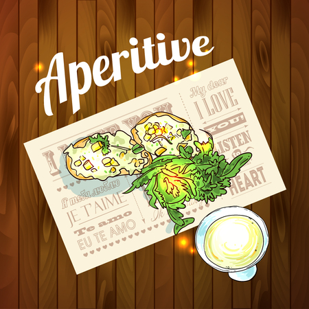 aperitive: Appetizer and aperitive vector food illustration top view