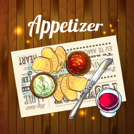 appetizer: Appetizer and aperitive vector food illustration top view