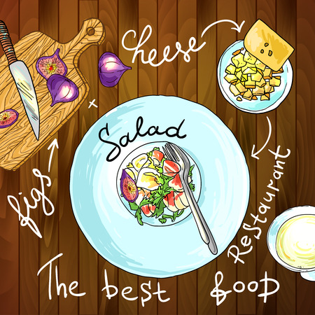 aperitive: Appetizer and aperitive food illustration top view Illustration