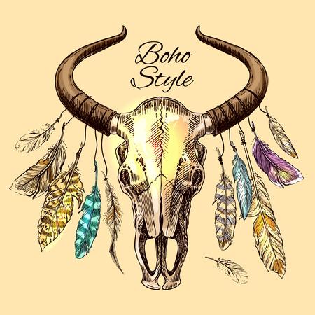rodeo americano: Hermosa dibujado a mano ilustración boceto del cráneo de un toro Vectores