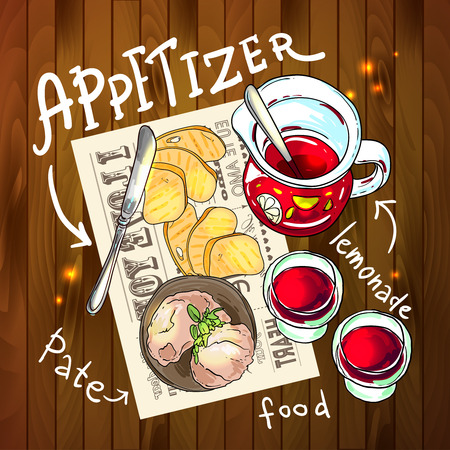 appetizers: Appetizer and aperitive vector food illustration top view